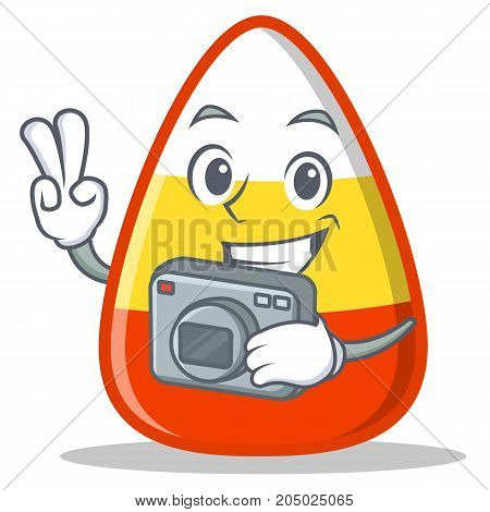 Photography candy corn character cartoon vector illustration