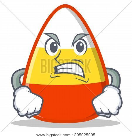 Angry candy corn character cartoon vector illustration