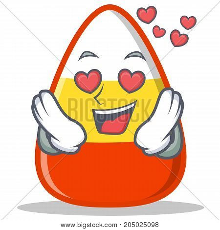In love candy corn character cartoon vector illustration
