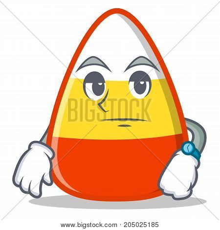 Waiting candy corn character cartoon vector illustration