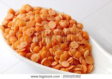 A close up of Masoor or red lentil