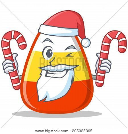 Wink Santa candy corn character cartoon vector illustration