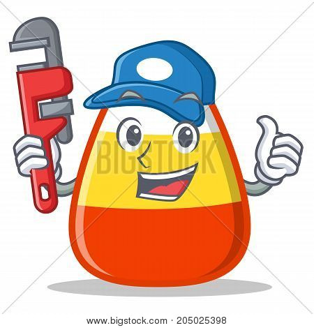 Plumber candy corn character cartoon vector illustration