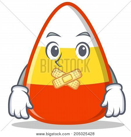 Silent candy corn character cartoon vector illustration