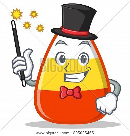 Magician candy corn character cartoon vector illustration
