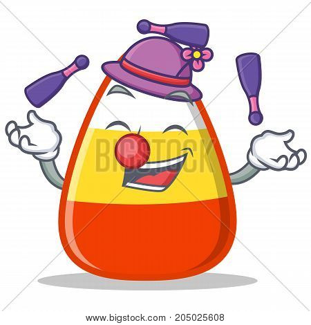Juggling candy corn character cartoon vector illustration