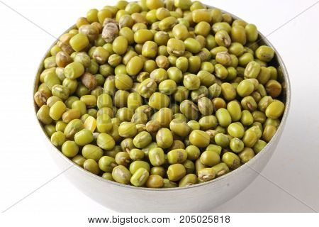 Close up of uncooked Green mung beans