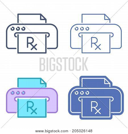Printer prints prescription document. Rx symbol on the paper sheet. Vector outline icon set. Telemedicine concept line symbols and pictograms. Thin contour infographic for web, presentations.