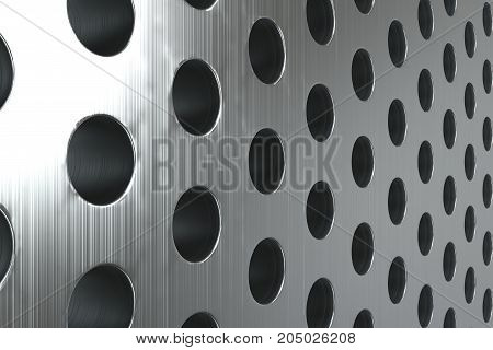 Plain Brushed Metal Surface With Cylindrical Holes
