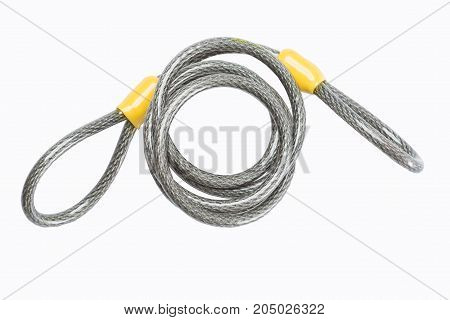 cable lock for bicycle isolate on white background.