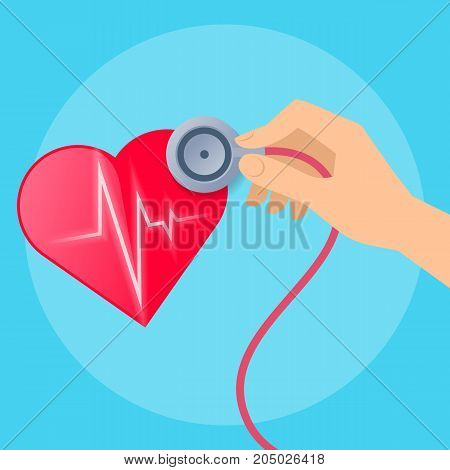 Doctor's hand listens to the patient's heartbeat. Concept medical illustration of human hand with stethoscope and heart with pulse line inside. Flat vector design elements.