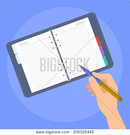 Human hand writes in the paper planner. Concept illustration of male, female hand with pen and business personal organizer. Flat vector design elements.