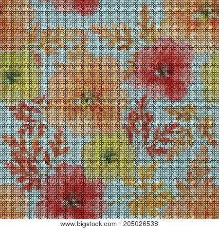 Illustration. Cross-stitch. Geranium cranesbill pelargonium. Texture of flowers. Seamless pattern for continuous replicate. Floral background collage.