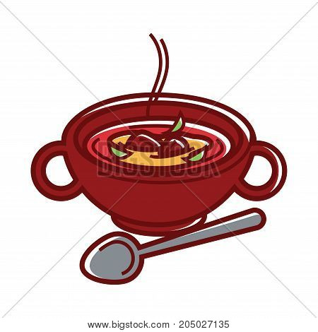 Kharcho soup Caucasian cuisine food traditional dish. Vector isolated icon of hot vegetable and meat soup in bowl plate for Georgian or Armenian and Azerbaijani restaurant menu