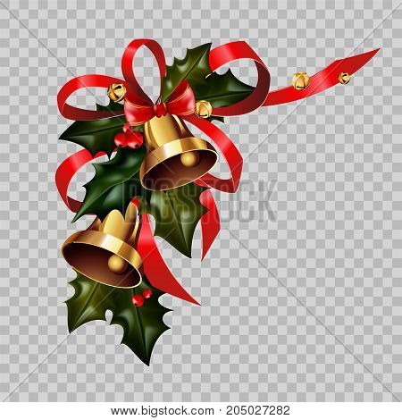 Christmas decoration of jingle golden bells, holly leaf wreath and red ribbon bow on transparent background. Vector isolated decorative element for Christmas or New Year greeting card design template