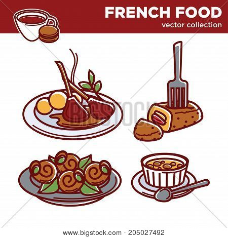 French cuisine food traditional dishes. Vegetable ratatouille, onion soup and mushroom julien garnish, onion soup or meat omelet and pastry dessert or drinks. Vector isolated icons for restaurant menu