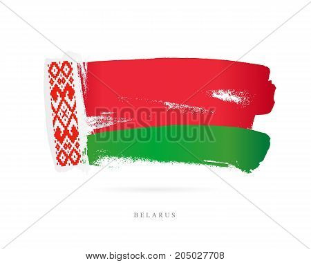 Flag of Belarus. Vector illustration on white background. Beautiful brush strokes. Abstract concept. Elements for design.