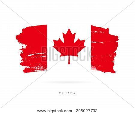 Flag of Canada. Vector illustration on white background. Beautiful brush strokes. Abstract concept. Elements for design.