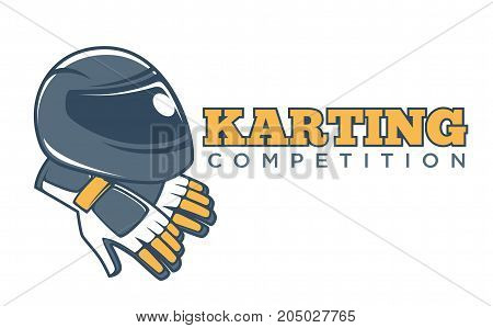 Karting competition club logo template for karting races tournament of driver racer helmet and steering whell gloves. Vector isolated icon