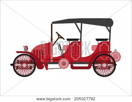 Old car or vintage retro cab coach automobile of 30 or 40 century of electric or steam engine. Antique veteran collector classic minibus cab auto model. Vector flat isolated icon