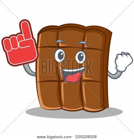 With foam finger chocolate character cartoon style vector illustration