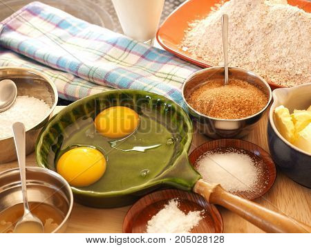Baking ingredients on a worktop in the kitchen