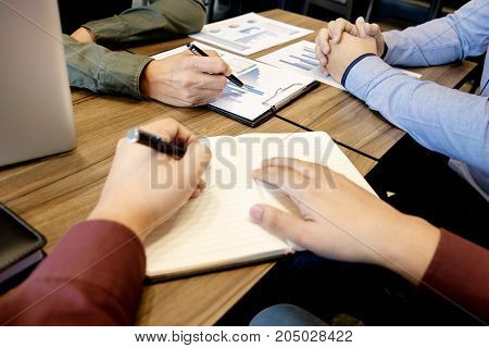 Business meeting office. documents account managers crew working with new startup project Idea presentation analyze marketing plans