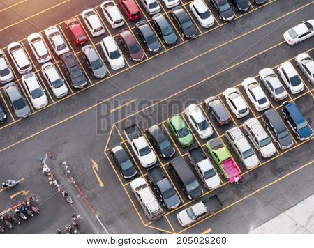 Abstract blurred or de focused car parking for background