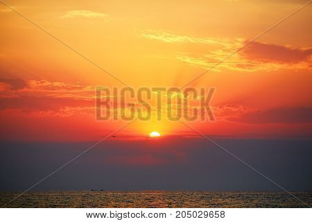 Sunset over Black Sea. Summer outdoor background