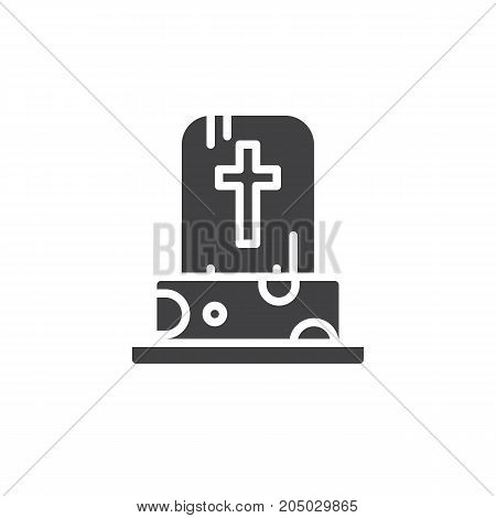 Tombstone icon vector, filled flat sign, solid pictogram isolated on white. Halloween holiday Symbol, logo illustration.
