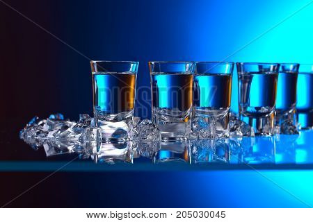 Glasses Of Vodka With Ice .