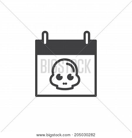 Calendar with skull icon vector, filled flat sign, solid pictogram isolated on white. Halloween holiday Symbol, logo illustration.