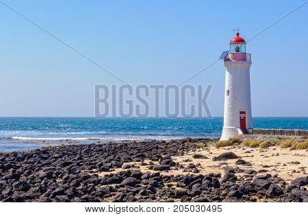 The Griffiths Island Lighthouse was built in 1859 as a navigation aid for Port Fairy an important trading port at that time - Victoria, Australia
