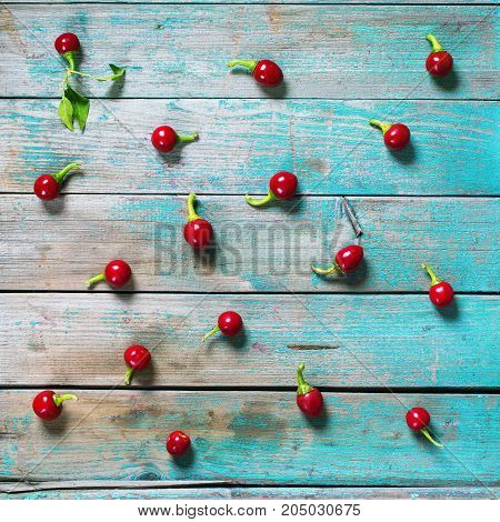 Scattered Red Spicy Peppers Lies Background Rustic