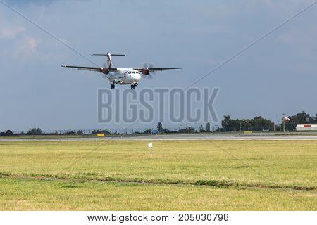 PRAGUE CZECH REPUBLIC - SEPTEMBER 20 2017: ATR-72 of Czech Airlines landing on PRG Airport in Prague. Czech Airlines CSA is the flag carrier of Czech Republic