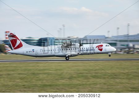 PRAGUE CZECH REPUBLIC - SEPTEMBER 20 2017: ATR-72 of Czech Airlines landing on PRG Airport in Prague. Czech Airlines CSA is the flag carrier of Czech Republic