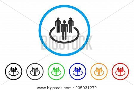 Community rounded icon. Style is a flat community gray symbol inside light blue circle with black, gray, green, blue, red, orange color versions. Vector designed for web and software interfaces.