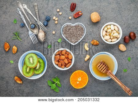Ingredients For A Healthy Foods Background, Nuts, Honey, Berries, Fruits, Blueberry, Orange, Almonds
