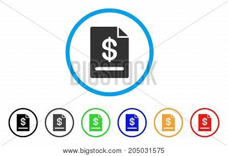 Invoice rounded icon. Style is a flat invoice gray symbol inside light blue circle with black, gray, green, blue, red, orange versions. Vector designed for web and software interfaces.