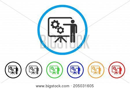Mechanical Gears Project Board rounded icon. Style is a flat mechanical gears project board grey symbol inside light blue circle with black, gray, green, blue, red, orange color versions.