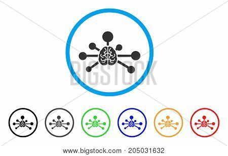 Mind Control Links rounded icon. Style is a flat mind control links gray symbol inside light blue circle with black, gray, green, blue, red, orange versions.