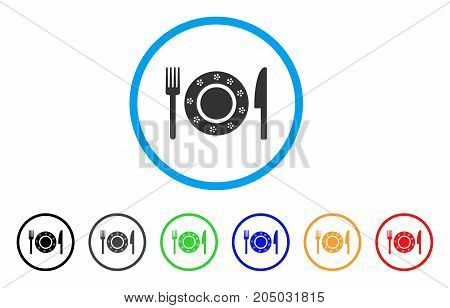 Restaurant Tableware rounded icon. Style is a flat restaurant tableware gray symbol inside light blue circle with black, gray, green, blue, red, orange variants.