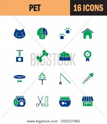 Pet icon set. Collection of shop line icons. High quality logos of dog, cat, house on white background. Pack of symbols for design website, mobile app, printed material, etc.