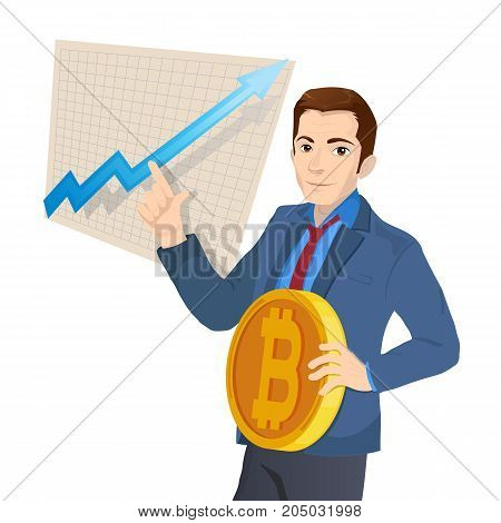 Businessman and graph with trend line rising up and coin with a sign of bitcoin in flat style isolated. Digital currency electronic money, mobile banking.