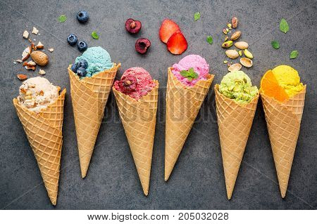 Various Of Ice Cream Flavor In Cones Blueberry ,strawberry ,pistachio ,almond ,orange And Cherry Set
