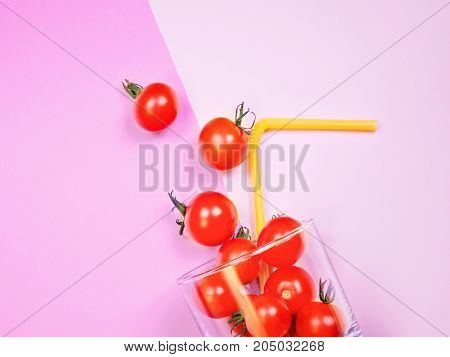 Tomato Juice Or Smoothie, Cherry Tomato In Drink Glass With Straw