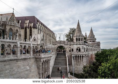 Budapest, Hungary - August 12, 2017: The Fisherman Bastion of Buda. It is a terrace in neo-Gothic and neo-Romanesque style situated on the Buda bank of the Danube, on the Castle hill in Budapest, .