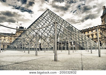 Paris France - September 10 2017: HDR view of Musee du Louvre in Paris.