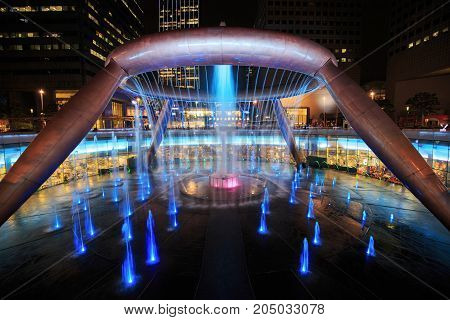 Light Show At The Fountain Of Wealth, It Is The Famous Place In Suntec City, Singapore