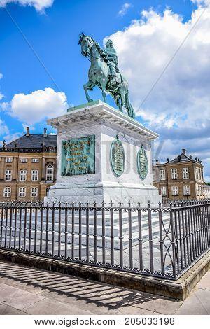 COPENHAGEN, DENMARK - JULY 20: Frederik V on Horseback Statue in Amalienborg Square